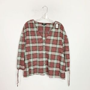 Madewell | plaid button down 3/4 sleeve blouse M